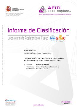 solicitante: clasificación de la resistencia al fuego según norma une