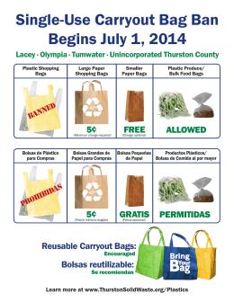 Single-Use Carryout Bag Ban Begins July 1, 2014 B