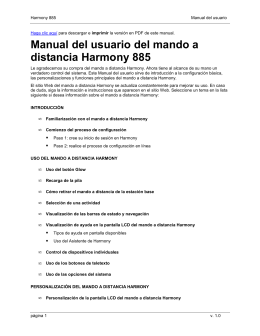 Manual del usuario del mando a distancia Harmony 885