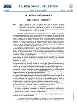 Orden EDU/ 581/2011 - Consejo Superior de Deportes