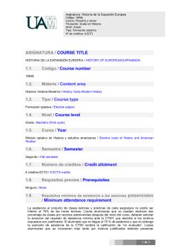 ASIGNATURA / COURSE TITLE 1.1. Código / Course number 1.2
