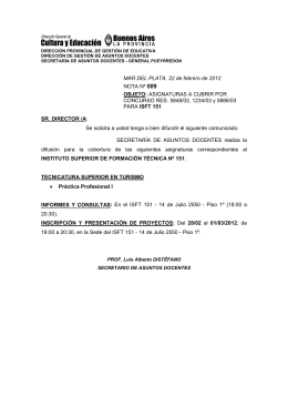 MAR DEL PLATA, 22 de febrero de 2012 NOTA Nº 009 OBJETO