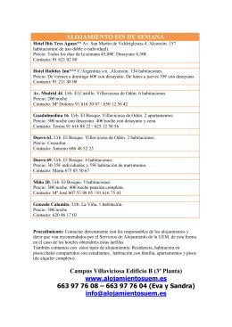 ALOJAMIENTO FIN DE SEMANA Campus Villaviciosa
