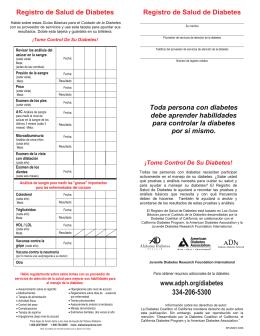 betes Registro de Salud de Diabetes Toda persona con diabetes