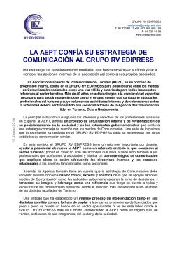 La AEPT confía su Estrategia de Comunicación al Grupo RV Edipress
