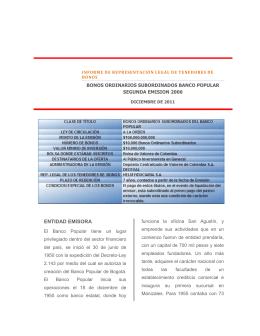 Informe RLTB Banco Popular emisión 2006 - Diciembre 2011