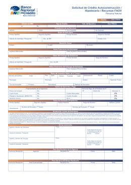 Solicitud de Crédito Autoconstrucción / Hipotecario / Recursos FAOV