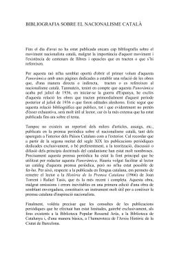 Bibliografia sobre el nacionalisme català