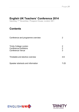 View the English UK Teachers` Conference 2014 programme