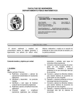 GEOMETRÍA Y TRIGONOMETRÍA FACULTAD DE INGENIERÍA