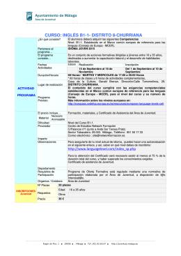 CURSO: INGLÉS B1-1- DISTRITO 8-CHURRIANA
