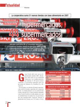 7 hipermercados, 44 supermercados
