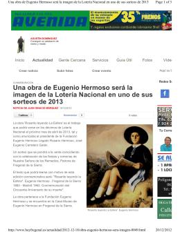 Una obra de Eugenio Hermoso será la imagen de la Lotería