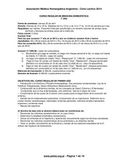 Escuela CURSO REGULAR DE MEDICINA HOMEOPÁTICA 2014