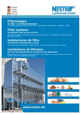 Filteranlagen Filter systems Instalaciones de filtro
