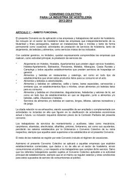 convenio colectivo para la industria de hostelería 2013-2014