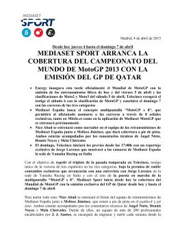 MEDIASET SPORT ARRANCA LA COBERTURA DEL