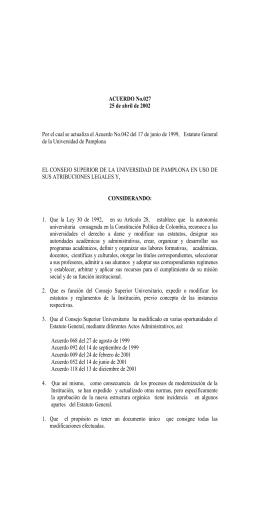 ACUERDO No - Universidad de Pamplona