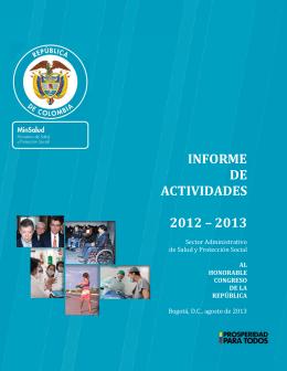 Informe al Congreso 2012-2013 - Ministerio de Salud y Protección
