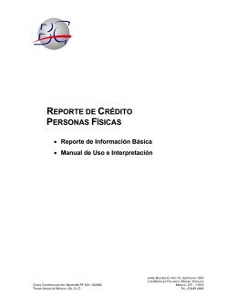 REPORTE DE CRÉDITO PERSONAS FÍSICAS