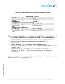 ANEXO 1 - FORMATO DE VINCULACIÓN CITIBUSINESS
