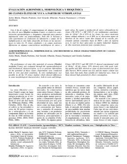 evaluación agronómica, morfológica y bioquímica de
