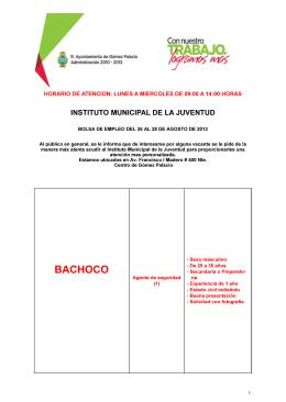 Bolsa de Trabajo - Gobierno Municipal de Gómez Palacio, Diego