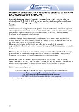 openbank ofrece gratis a todos sus clientes el servicio de antivirus
