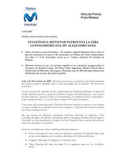 Nota de Prensa Press Release TELEFÓNICA MOVISTAR