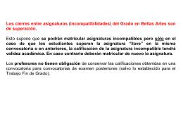 Incompatibilidades entre asignaturas Grado en Bellas Artes
