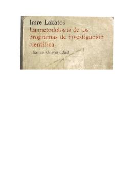 Lakatos Imre -La metodología de los programas de investigación