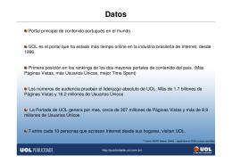 Portal principal de contenido portugués en el mundo. UOL es el