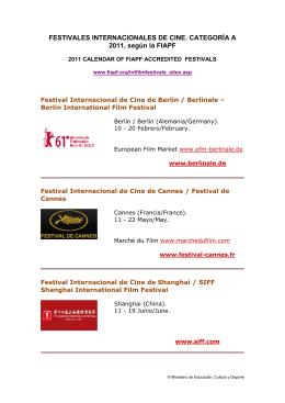 Festivales de Cine Categoría A - Ministerio de Educación, Cultura y