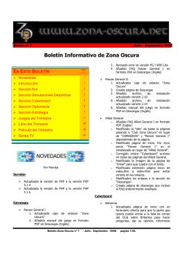 Boletín Informativo de Zona Oscura NOVEDADES