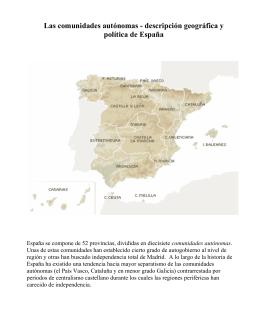 Las comunidades autónomas - descripción geográfica y política de