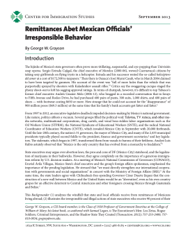 Remittances Abet Mexican Officials` Irresponsible Behavior