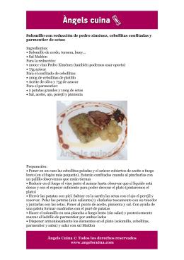 Solomillo con reducción de Pedro Ximénez, cebollitas confitadas y