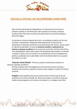 ESCUELA OFICIAL DE SOCORRISMO SIAM PARK