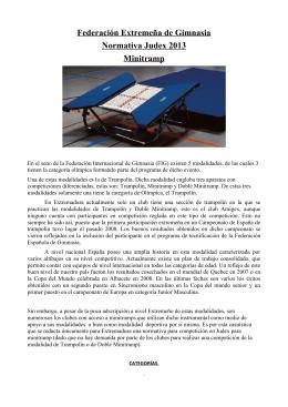 Federación Extremeña de Gimnasia Normativa Judex 2013 Minitramp