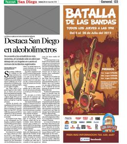 Destaca San Diego en alcoholímetros