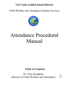 Attendance Procedural Manual - Val Verde Unified School District