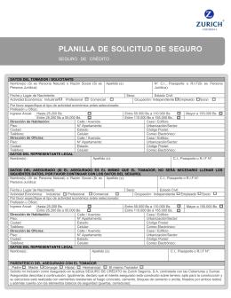 PLANILLA DE SOLICITUD DE SEGURO