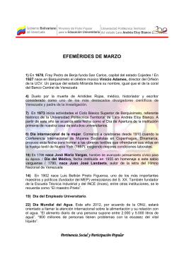 efemérides de marzo - Universidad Politécnica Territorial de Lara