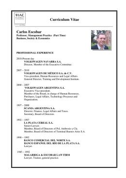 Carlos Escobar Curriculum Vitae