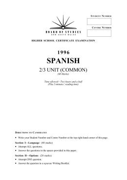 SPANISH - Board of Studies NSW
