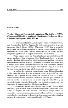FALI 1997 Ifil Book Reviews Teodoro Klein, ed
