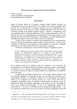 Hacia una nueva interpretación de la obra de Mendel