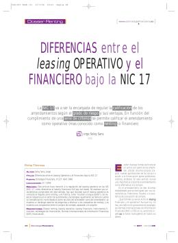 DIFERENCIAS entre el leasing OPERATIVO y el FINANCIERO bajo