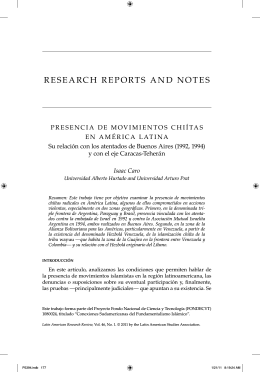 research reports and notes - Latin American Studies Association