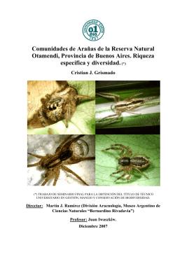 Comunidades de Arañas de la Reserva Natural Otamendi, Provincia